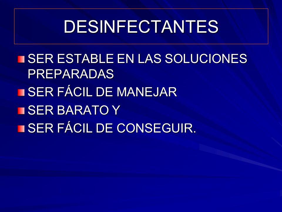 DESINFECTANTES SER ESTABLE EN LAS SOLUCIONES PREPARADAS
