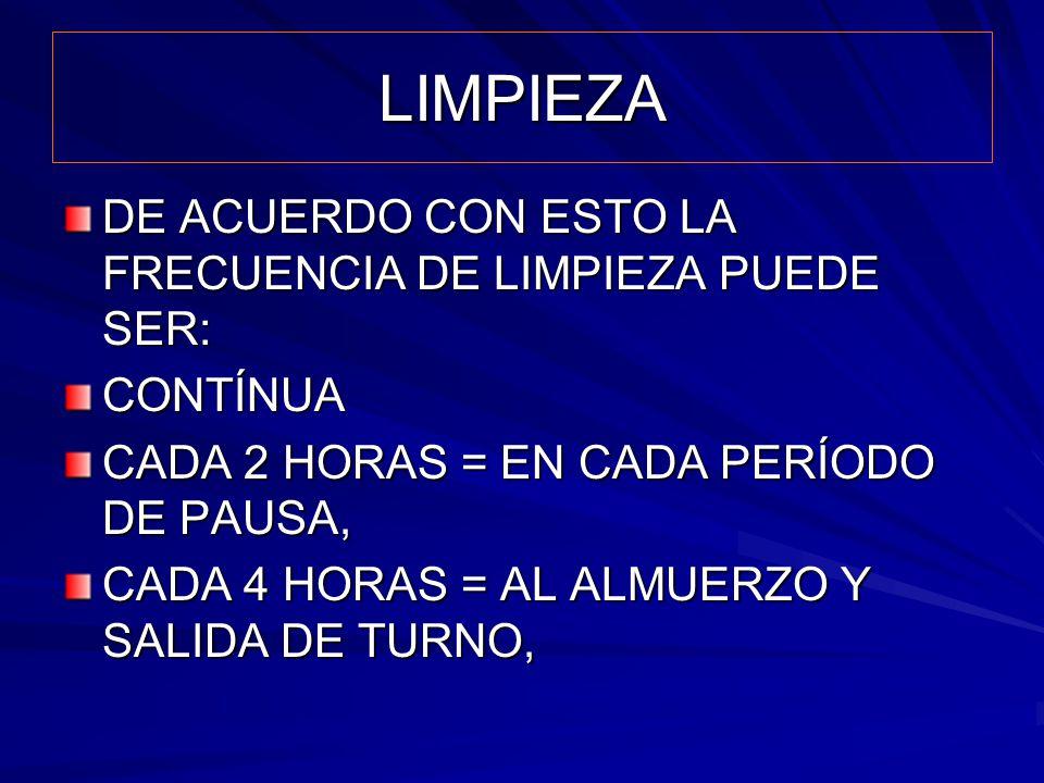 LIMPIEZA DE ACUERDO CON ESTO LA FRECUENCIA DE LIMPIEZA PUEDE SER: