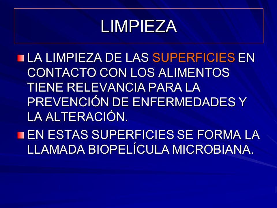 LIMPIEZA LA LIMPIEZA DE LAS SUPERFICIES EN CONTACTO CON LOS ALIMENTOS TIENE RELEVANCIA PARA LA PREVENCIÓN DE ENFERMEDADES Y LA ALTERACIÓN.