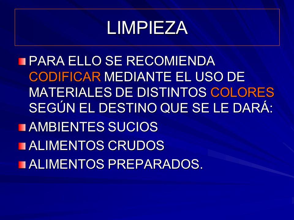 LIMPIEZA PARA ELLO SE RECOMIENDA CODIFICAR MEDIANTE EL USO DE MATERIALES DE DISTINTOS COLORES SEGÚN EL DESTINO QUE SE LE DARÁ: