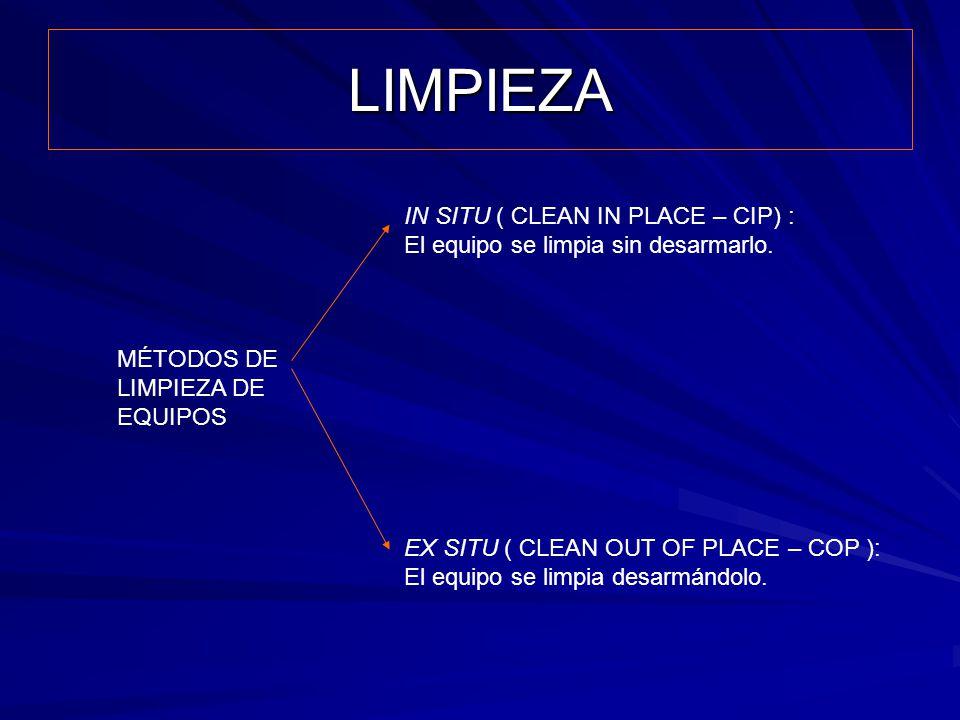 LIMPIEZA IN SITU ( CLEAN IN PLACE – CIP) :