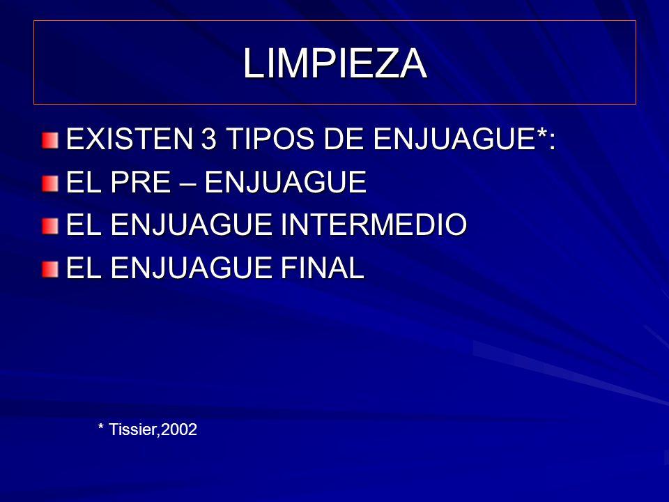 LIMPIEZA EXISTEN 3 TIPOS DE ENJUAGUE*: EL PRE – ENJUAGUE