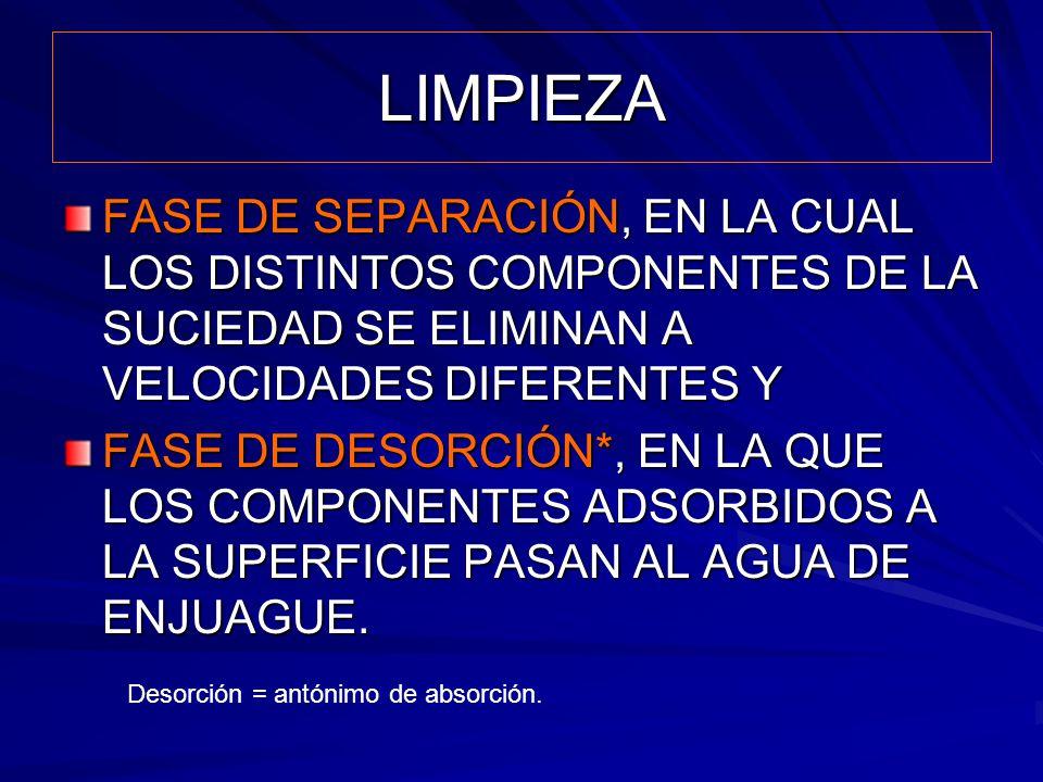 LIMPIEZA FASE DE SEPARACIÓN, EN LA CUAL LOS DISTINTOS COMPONENTES DE LA SUCIEDAD SE ELIMINAN A VELOCIDADES DIFERENTES Y.