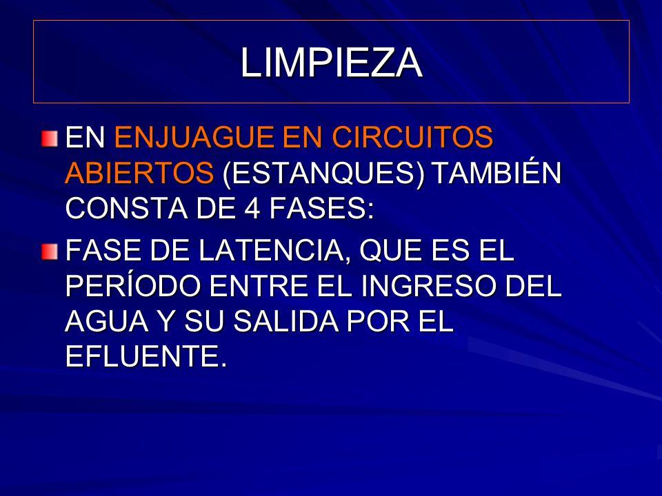 LIMPIEZA EN ENJUAGUE EN CIRCUITOS ABIERTOS (ESTANQUES) TAMBIÉN CONSTA DE 4 FASES: