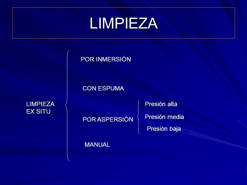 LIMPIEZA POR INMERSIÓN CON ESPUMA LIMPIEZA EX SITU Presión alta