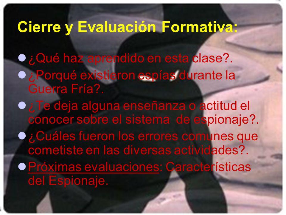 Cierre y Evaluación Formativa: