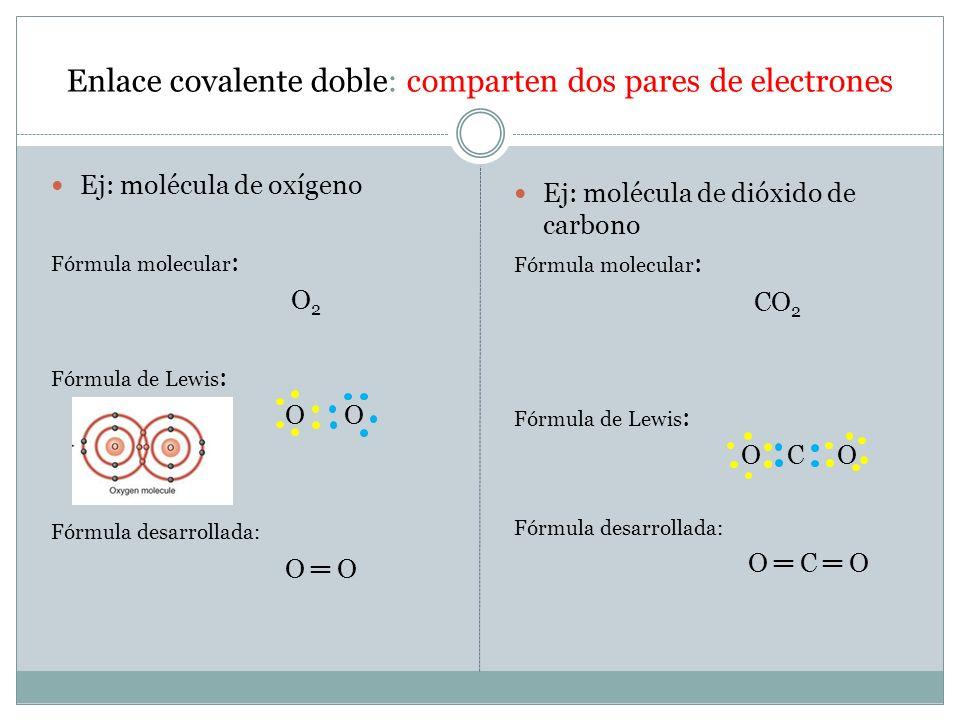 Enlace covalente doble: comparten dos pares de electrones