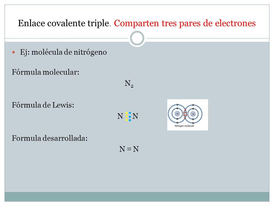 Enlace covalente triple. Comparten tres pares de electrones
