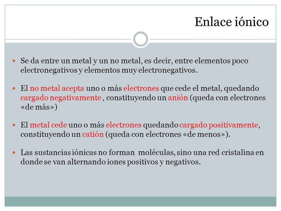 Enlace iónico Se da entre un metal y un no metal, es decir, entre elementos poco electronegativos y elementos muy electronegativos.