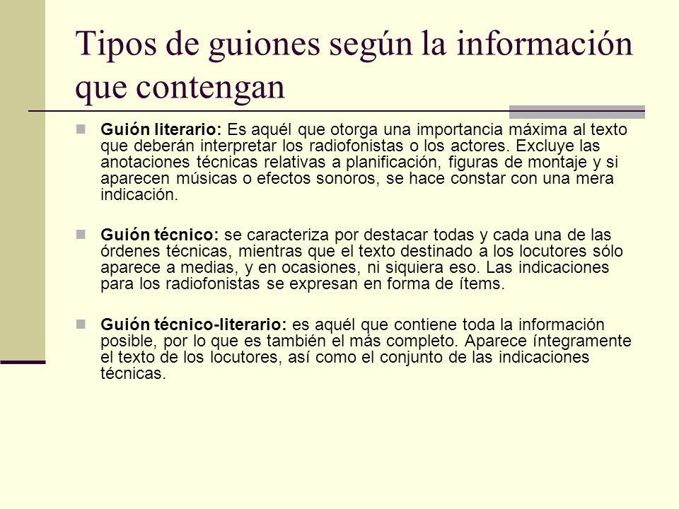 Tipos de guiones según la información que contengan