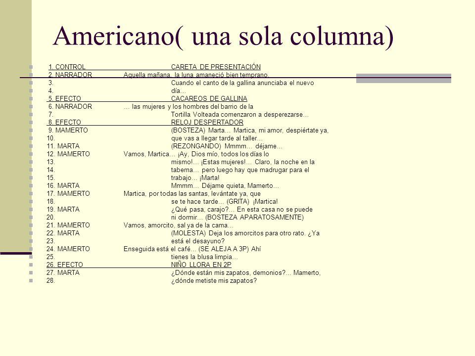 Americano( una sola columna)