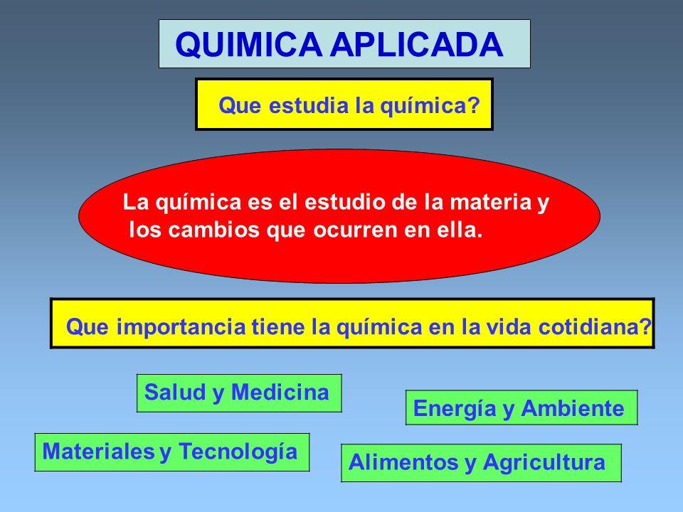 QUIMICA APLICADA Que estudia la química Salud y Medicina
