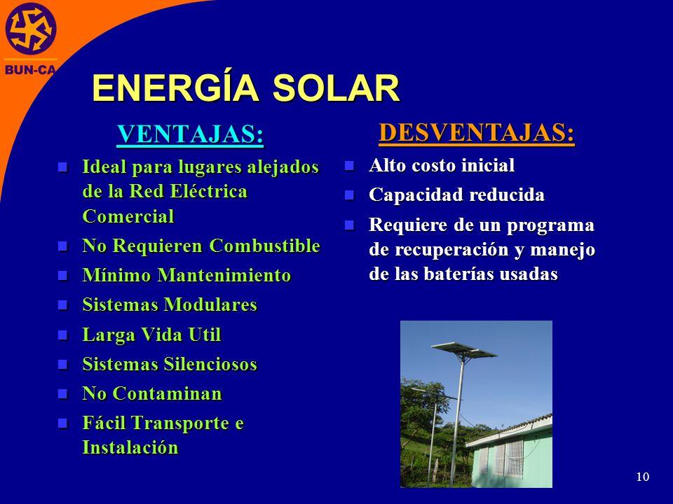 ENERGÍA SOLAR VENTAJAS: DESVENTAJAS: