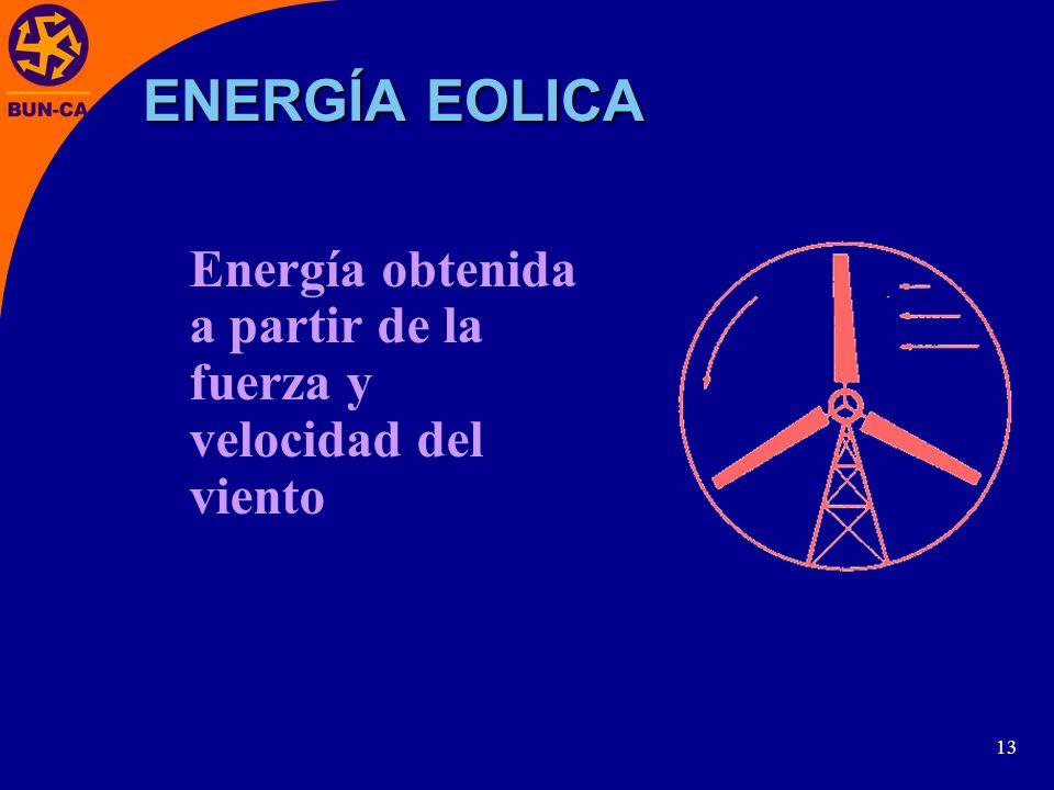ENERGÍA EOLICA Energía obtenida a partir de la fuerza y velocidad del viento