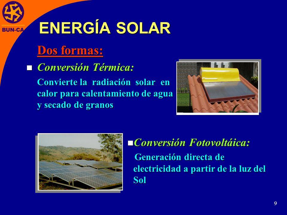 ENERGÍA SOLAR Conversión Térmica: Conversión Fotovoltáica: Dos formas: