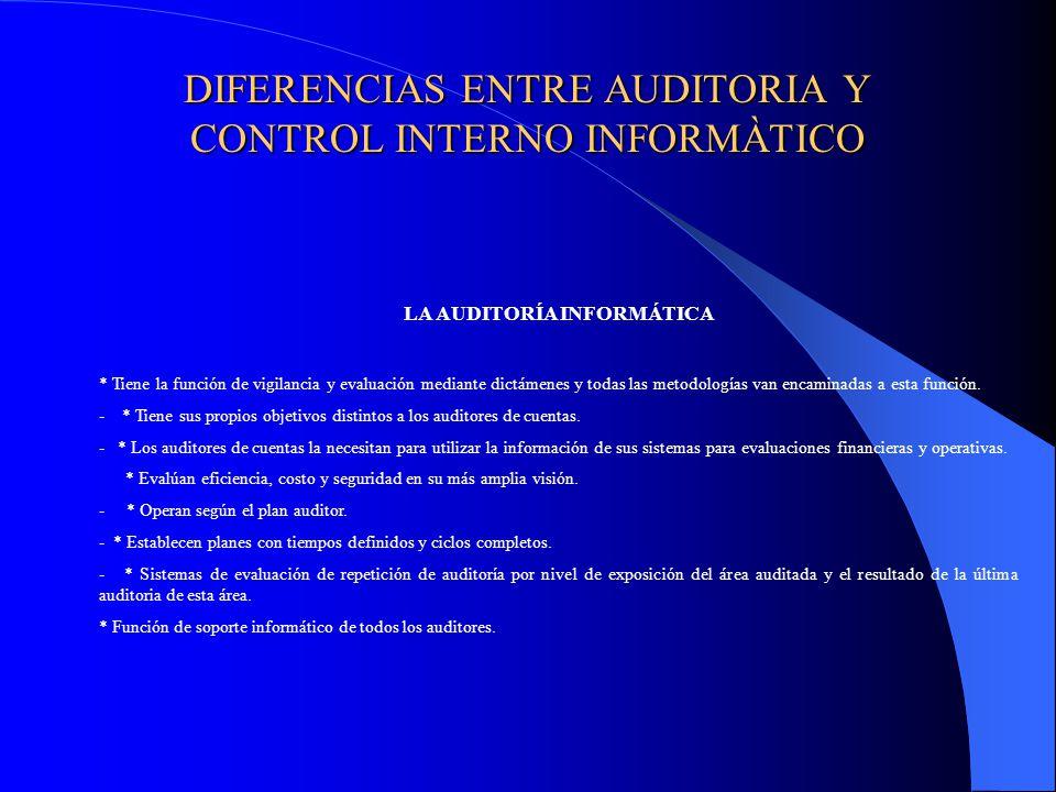 DIFERENCIAS ENTRE AUDITORIA Y CONTROL INTERNO INFORMÀTICO