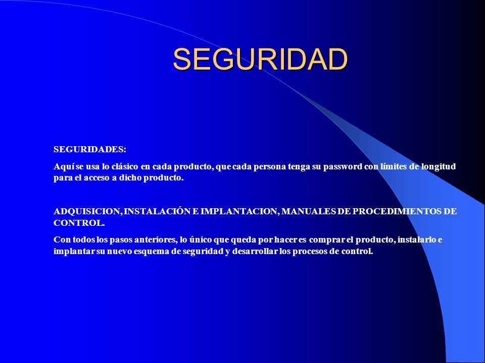 SEGURIDAD SEGURIDADES:
