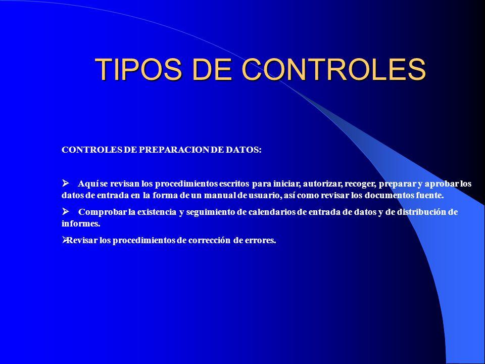 TIPOS DE CONTROLES CONTROLES DE PREPARACION DE DATOS: