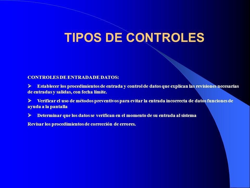 TIPOS DE CONTROLES CONTROLES DE ENTRADA DE DATOS: