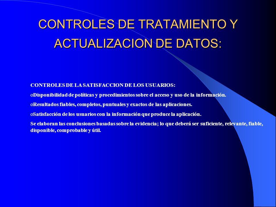 CONTROLES DE TRATAMIENTO Y ACTUALIZACION DE DATOS: