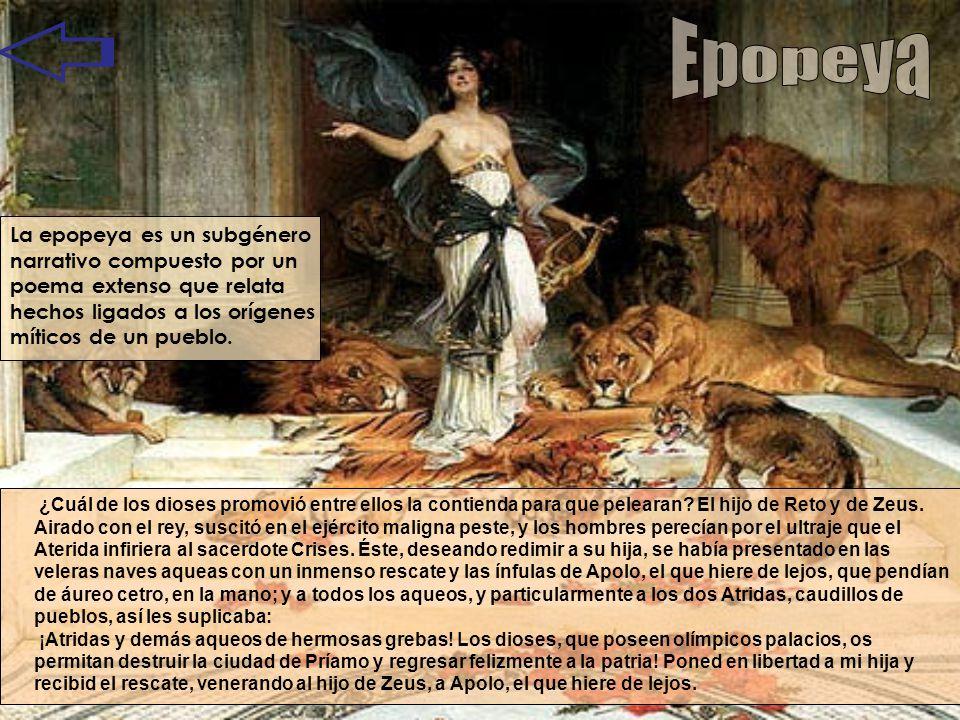 Epopeya La epopeya es un subgénero narrativo compuesto por un poema extenso que relata hechos ligados a los orígenes míticos de un pueblo.