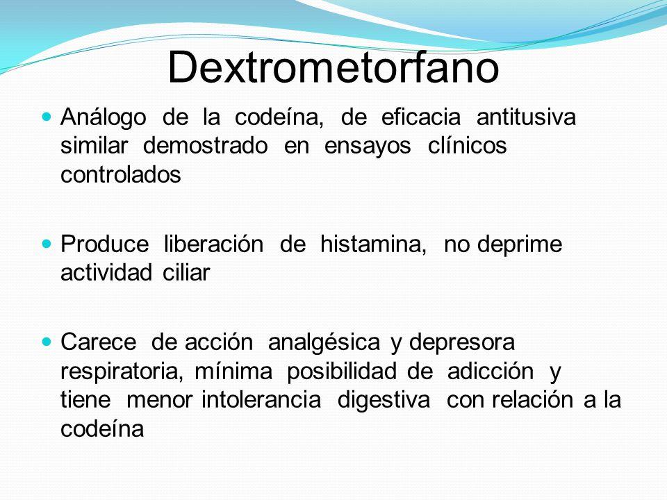 Dextrometorfano Análogo de la codeína, de eficacia antitusiva similar demostrado en ensayos clínicos controlados.