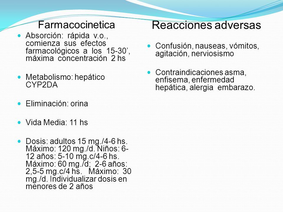Reacciones adversas Farmacocinetica