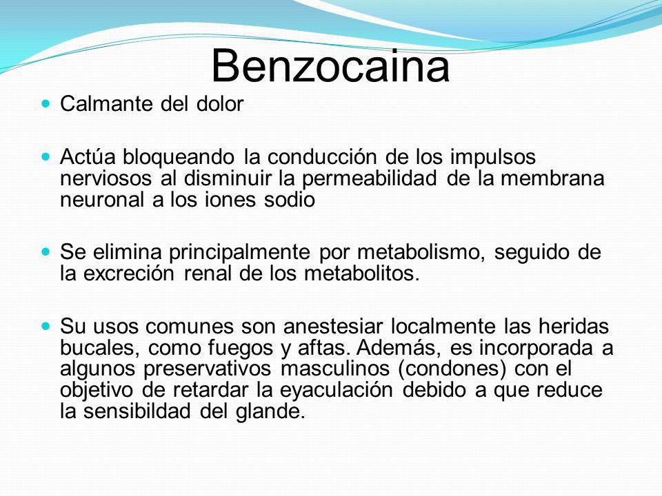 Benzocaina Calmante del dolor