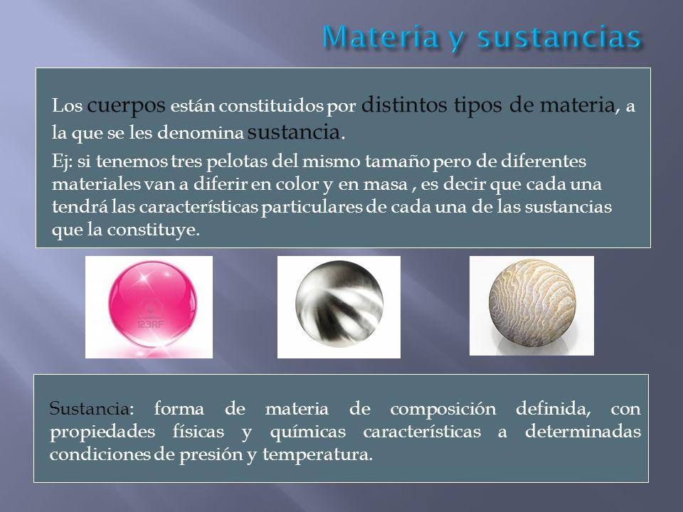 Materia y sustancias Los cuerpos están constituidos por distintos tipos de materia, a la que se les denomina sustancia.