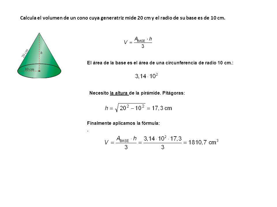Calcula el volumen de un cono cuya generatriz mide 20 cm y el radio de su base es de 10 cm.