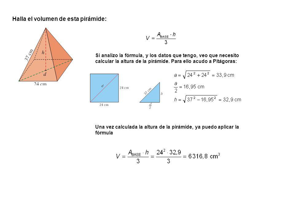 Halla el volumen de esta pirámide:
