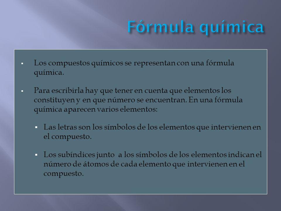 Fórmula química Los compuestos químicos se representan con una fórmula química.