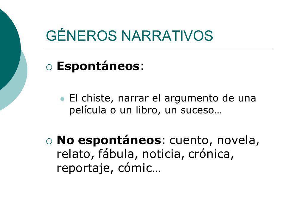 GÉNEROS NARRATIVOS Espontáneos: