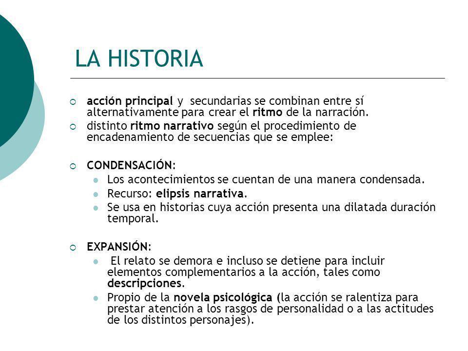 LA HISTORIA acción principal y secundarias se combinan entre sí alternativamente para crear el ritmo de la narración.