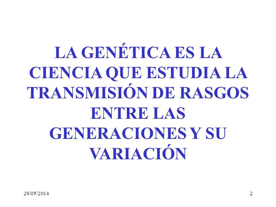 LA GENÉTICA ES LA CIENCIA QUE ESTUDIA LA TRANSMISIÓN DE RASGOS ENTRE LAS GENERACIONES Y SU VARIACIÓN