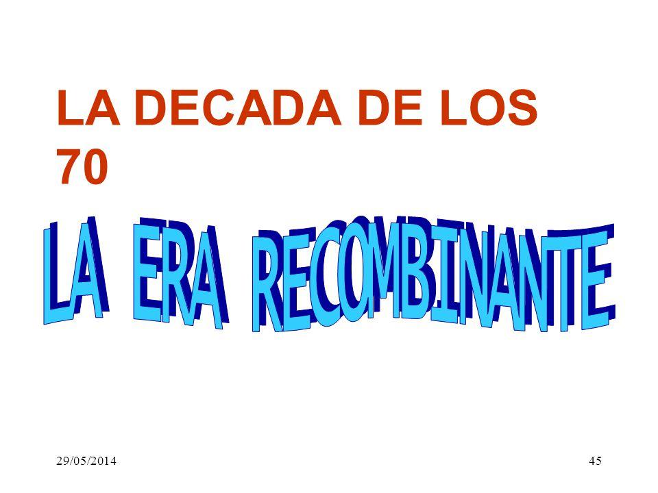 LA DECADA DE LOS 70 LA ERA RECOMBINANTE 31/03/2017