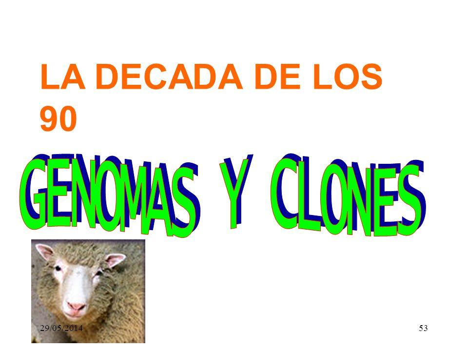 LA DECADA DE LOS 90 GENOMAS Y CLONES 31/03/2017