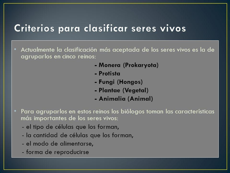 Criterios para clasificar seres vivos