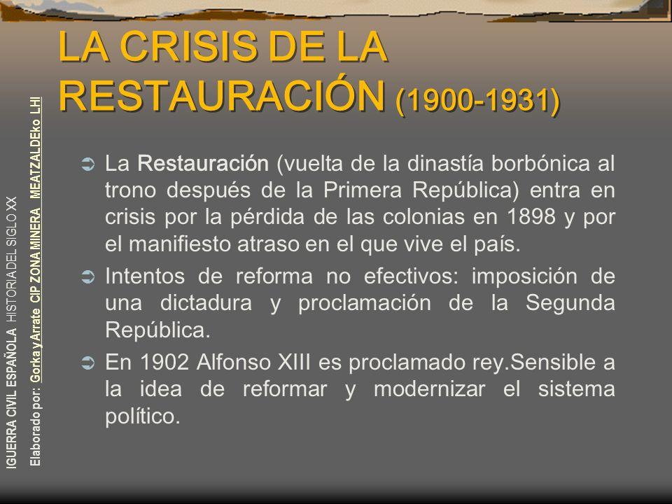 LA CRISIS DE LA RESTAURACIÓN (1900-1931)