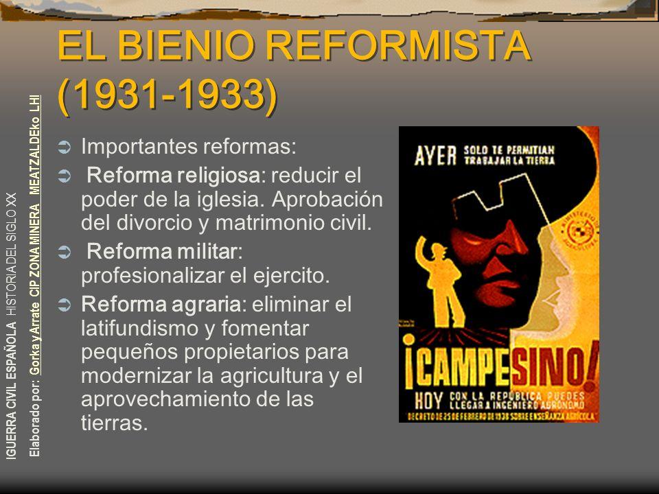 EL BIENIO REFORMISTA (1931-1933)