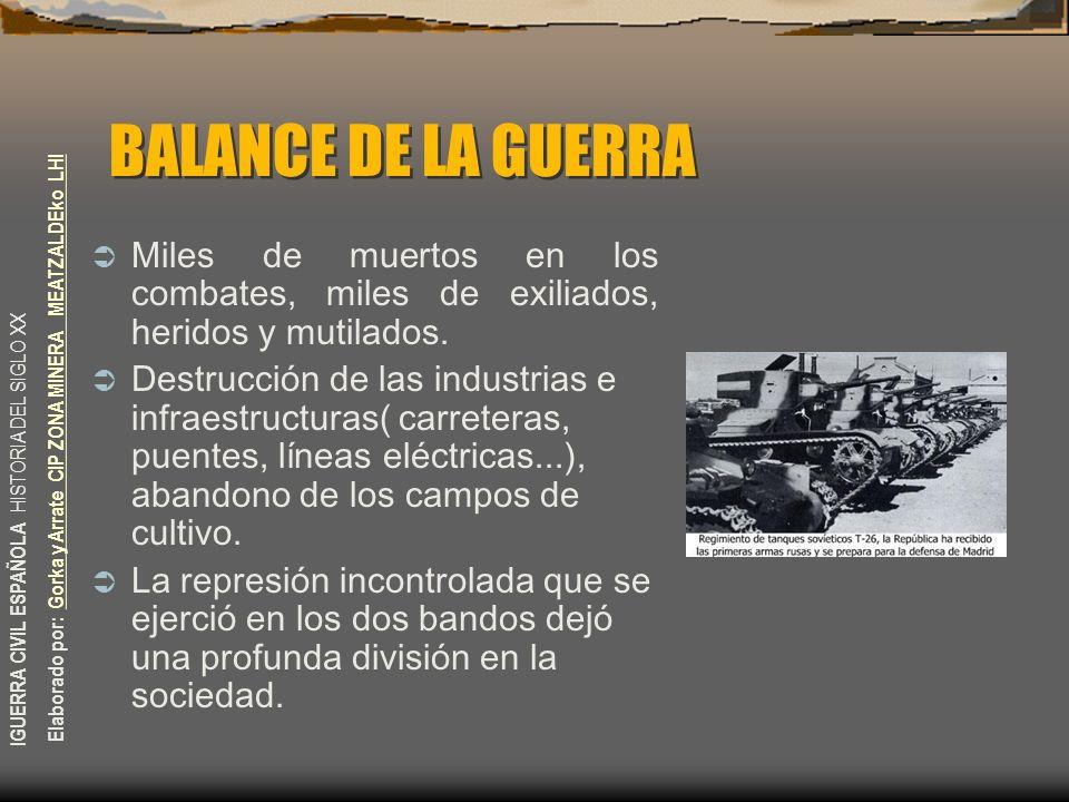 BALANCE DE LA GUERRA Miles de muertos en los combates, miles de exiliados, heridos y mutilados.