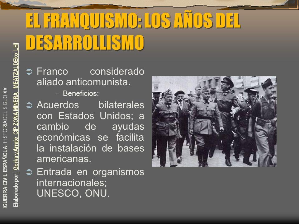 EL FRANQUISMO: LOS AÑOS DEL DESARROLLISMO