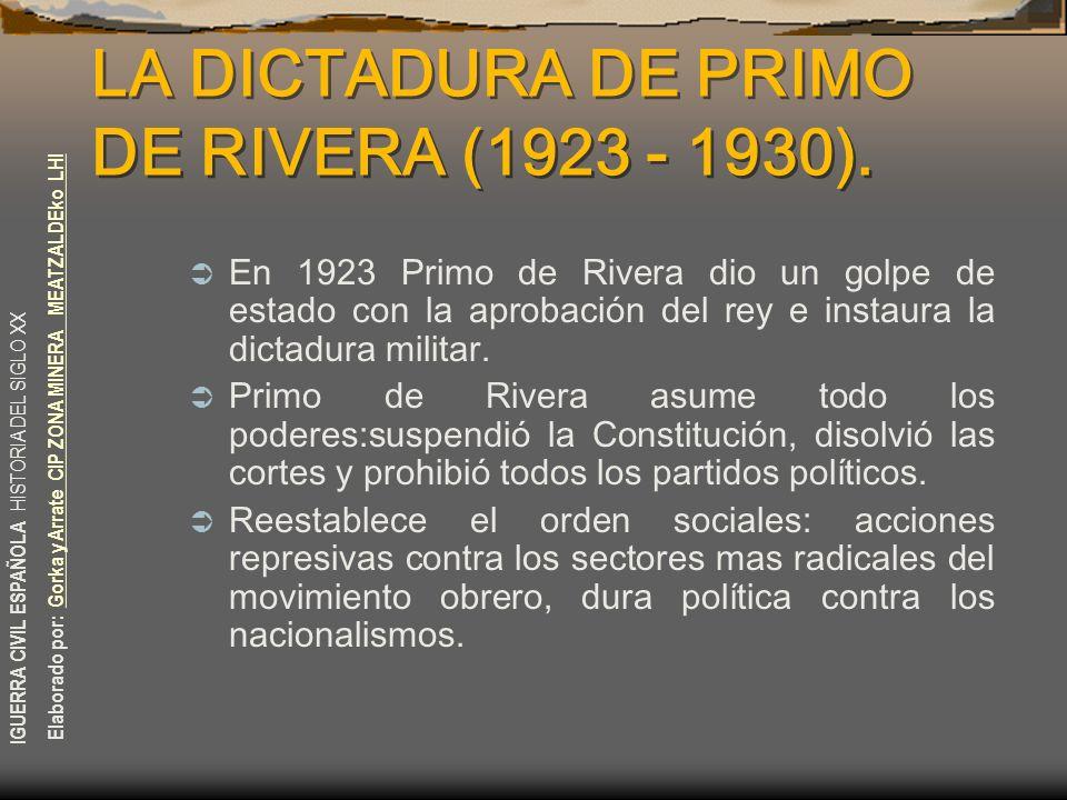 LA DICTADURA DE PRIMO DE RIVERA (1923 - 1930).