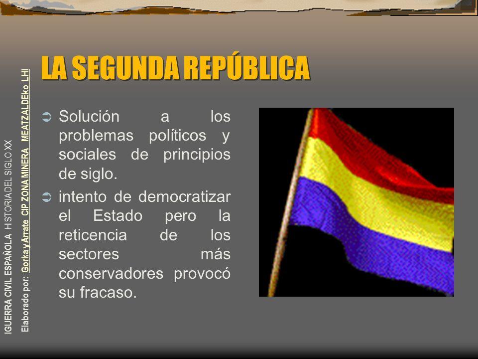 LA SEGUNDA REPÚBLICA Solución a los problemas políticos y sociales de principios de siglo.