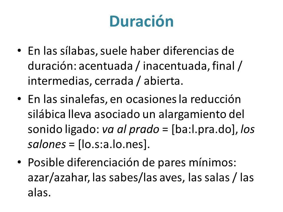 Duración En las sílabas, suele haber diferencias de duración: acentuada / inacentuada, final / intermedias, cerrada / abierta.