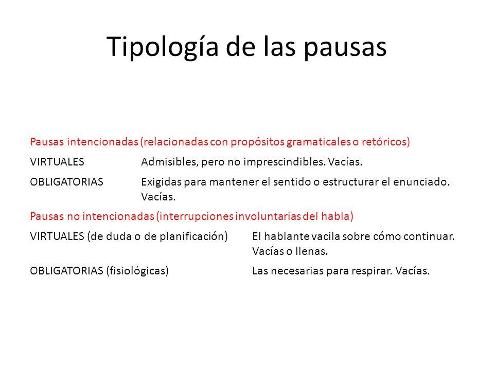 Tipología de las pausas