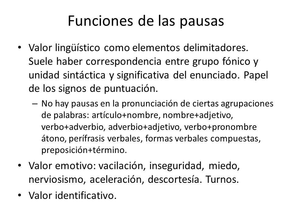Funciones de las pausas
