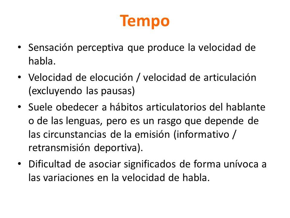 Tempo Sensación perceptiva que produce la velocidad de habla.