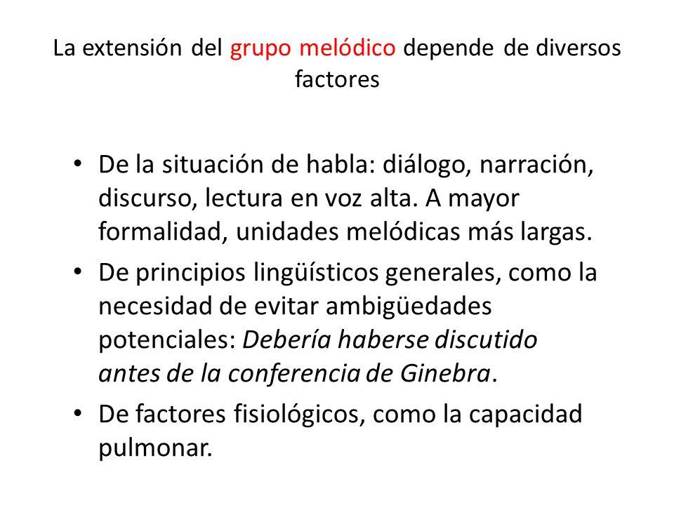 La extensión del grupo melódico depende de diversos factores