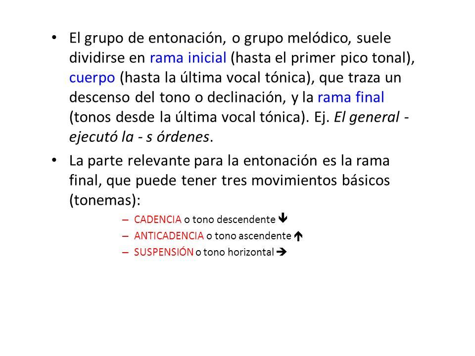 El grupo de entonación, o grupo melódico, suele dividirse en rama inicial (hasta el primer pico tonal), cuerpo (hasta la última vocal tónica), que traza un descenso del tono o declinación, y la rama final (tonos desde la última vocal tónica). Ej. El general - ejecutó la - s órdenes.